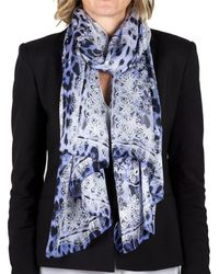 Roberto Cavalli | Women's Lace Floral Animal Print Silk Scarf Large | Lyst