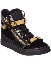 Giuseppe Zanotti | Coby Velvet & Patent High-top Sneaker | Lyst