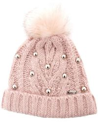 Guess - Women's Pink Faux Leather Hat - Lyst