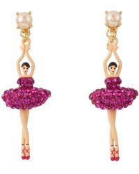 Les Nereides - Luxury Pas De Deux Hollywood Pink Ballerina Earrings - Lyst