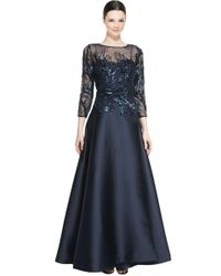 Teri Jon - 3/4-sleeve Sequined Ball Gown - Lyst