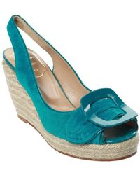 Roger Vivier - Suede Polishing Leather Peep Shoes Shy Green 115mm - Lyst