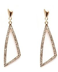 Peermont | Gold And White Swarovski Elements Open Triangle Earrings | Lyst