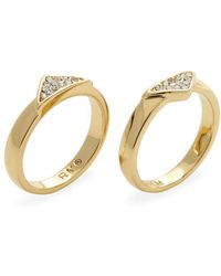 Rebecca Minkoff - Pave Glass Crystal Set Of 2 Stackable Rings - Lyst