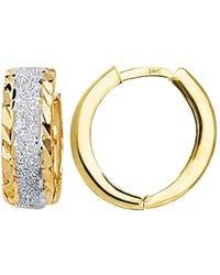 Jewelry Affairs - 14k Yellow White Gold Diamond Cut Two Tone Snuggable Earrings, Diameter 15mm - Lyst