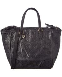 0b176c4161f Lyst - Gucci Pre Owned - Black Brown Leather Double Handle Tote Bag ...