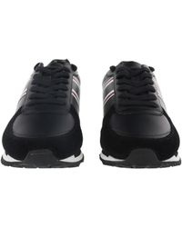 Roberto Cavalli - Black Leather Sneakers W/stripes Man Leather Shoes - Lyst