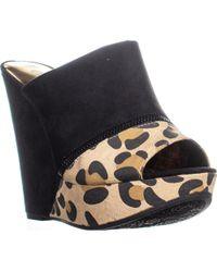 Carlos By Carlos Santana - Mercury Wedge Sandals, Natural/leopard - Lyst
