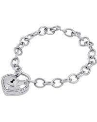 Amanda Rose Collection - Locking Heart 1/10 Ct. T.w. Diamond Bracelet In Sterling Silver - Lyst
