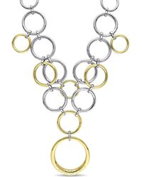 Catherine Malandrino - Diamond Circle Linked Necklace In 2-tone 18k Yellow And White Gold Plated Sterling Silver - Lyst