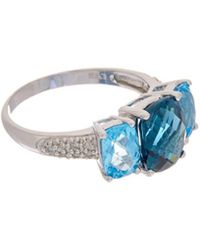 Effy - Fine Jewelry 14k 4.67 Ct. Tw. Diamond & Topaz Ring - Lyst