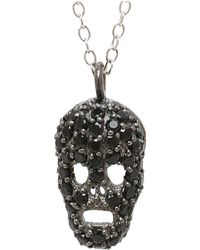 Adornia - Black Spinel And Sterling Silver Skull Necklace - Lyst