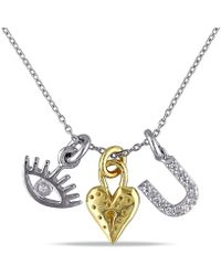 Catherine Malandrino - Cz I-love-you Charm Necklace In Yellow And White Sterling Silver - Lyst