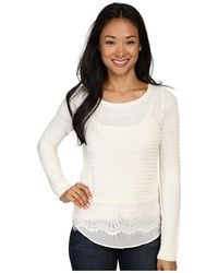 Lucky Brand - Lace Contrast Jumper - Lyst