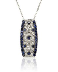 Suzy Levian - Sapphire And Diamond In Sterling Silver And 18k Gold Pendant - Lyst