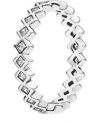 PANDORA - Silver Alluring Princess Cz Ring - Lyst