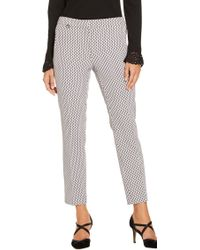 Adrianna Papell - Printed Kate Trousers With Faux Welt Pockets - Lyst