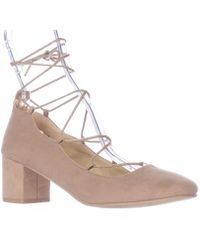 Wanted - Shoes Abby Lace Up Ankle Tie Chunky Heel Court Shoes, Taupe - Lyst