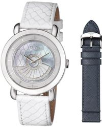 Gv2 - Catania Steel Case Navy Mop Dial With Front Rotor Navy Leather Strap With White Spare Leather Strap - Lyst