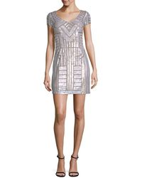 Adrianna Papell - Geometric Sequin Sheath Dress With Cap Sleeves - Lyst