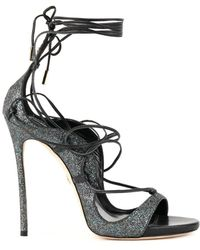 DSquared² - Women's Grey/black Leather Sandals - Lyst