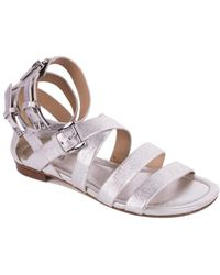 Michael Kors - Womens Silver Grained Leather Gladiator Sandal - Lyst