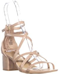 Material Girl - Mg35 Minez Strappy Block Heel Sandals, Nude - Lyst