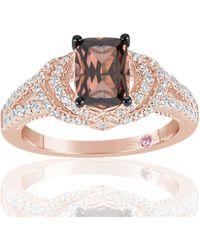 Suzy Levian - Rose Sterling Silver Brown And White Cubic Zirconia Ring - Lyst