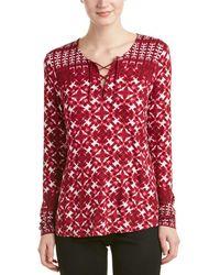 NYDJ - Batik Print Long Sleeve Top - Lyst