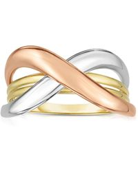 Jewelry Affairs - 14k Tri Colour Gold Shiny Fancy Womens Ring, Size 7 - Lyst