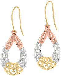 Jewelry Affairs - 10k 3 Color Yellow White Rose Gold Fancy Teardrop Millgrain Drop Earrings - Lyst