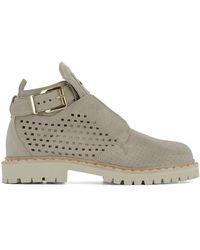 Balmain - Women's S7cbh030104105 Beige Suede Ankle Boots - Lyst