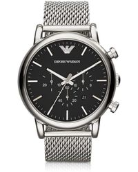 Emporio Armani - Classic Black Dial And Stainless Steel Men'S Chronograph Watch - Lyst