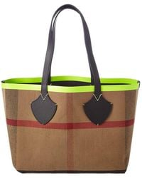 Burberry - Medium Giant Reversible Canvas Check & Leather Tote - Lyst