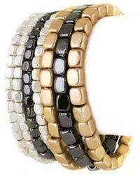 Bungalow 20 - Layered Mixed Matte Metal Stretch Bracelet - Lyst