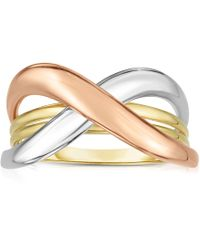 Jewelry Affairs - 14k Tri Color Gold Shiny Fancy Womens Ring, Size 7 - Lyst