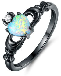 Peermont - Black Rhodium Plated Cubic Zirconia & Fire Opal Heart Crown Ring - Lyst