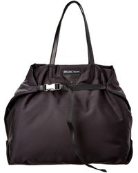 Prada - Nylon & Saffiano Leather Tote - Lyst