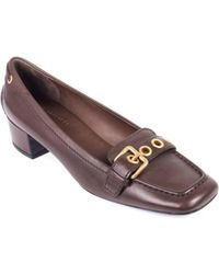 Car Shoe - Womens Brown Leather Buckle Square Toe Court Shoes - Lyst