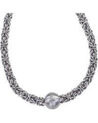 Jewelista - Stainless Steel & Cubic Zirconia Byzantine Pendant Necklace - Lyst