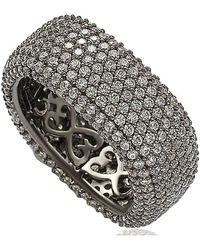 Suzy Levian - Blackened Sterling Silver Cubic Zirconia Square Pave Eternity Ring - Lyst