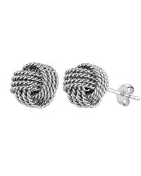 Jewelry Affairs - Sterling Silver Rhodium Finish 9mm Twisted Cable Love Knot Earrings - Lyst