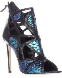 Alejandro Ingelmo   Odyssey Caged Cutout Peep Toe Heels - Turquoise/black   Lyst