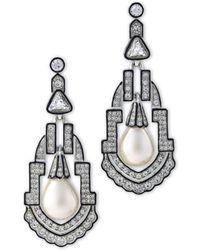 Kenneth Jay Lane - Women's Silver/pear/crystal Earring - Lyst