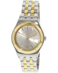 Swatch - Golden Yls207g Stainless-steel Swiss Quartz Fashion Watch - Lyst