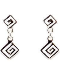 Jewelry Affairs - Sterling Silver Rhodium Plated Ancient Greek Key Drop Earrings - Lyst