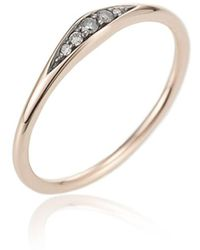 Jewelista - Diamond Tapered Ring In 14k Rose Gold - Lyst