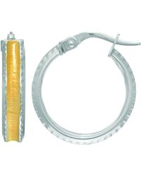 Jewelry Affairs - 14k White Yellow Gold Hoop Earrings With Satin Yellow Finish Concaved Center, Diameter 18mm - Lyst