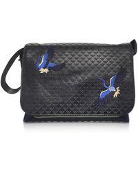 Emporio Armani - Men's Black Faux Leather Messenger Bag - Lyst