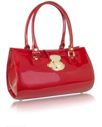 L.A.P.A. - Crystal Buckle Patent Leather Barrel Bag - Lyst